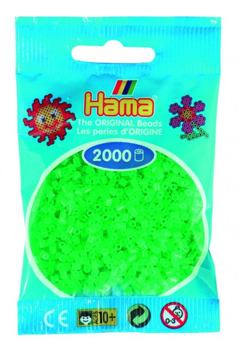2000 mărgele Hama MINI în punguliță - verde neon [0]