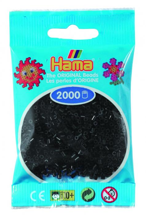 2000 mărgele Hama MINI în punguliță - negru [0]