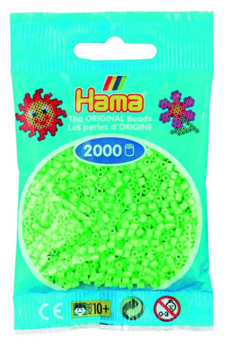 2000 mărgele Hama MINI în punguliță - verde pastel [0]