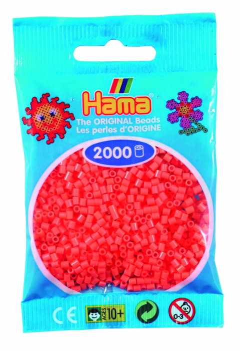 2000 mărgele Hama MINI în punguliță - roșu pastel [0]