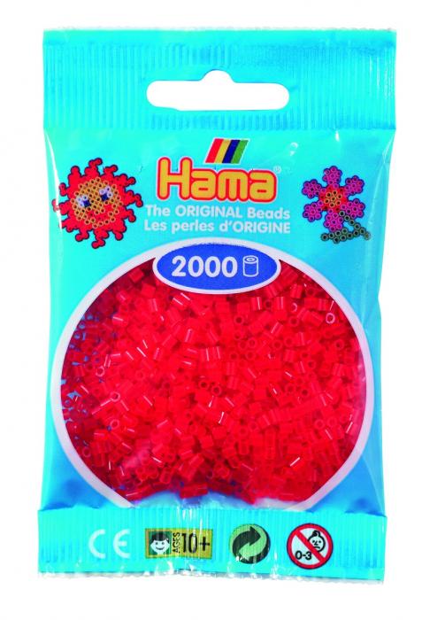 2000 mărgele Hama MINI în punguliță - roșu transparent [0]