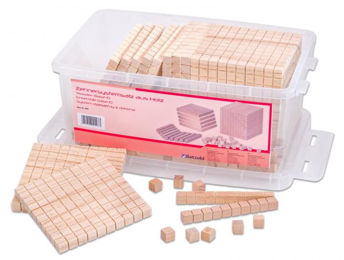 Set de numărare în sistem zecimal din lemn în cutie din plastic [2]