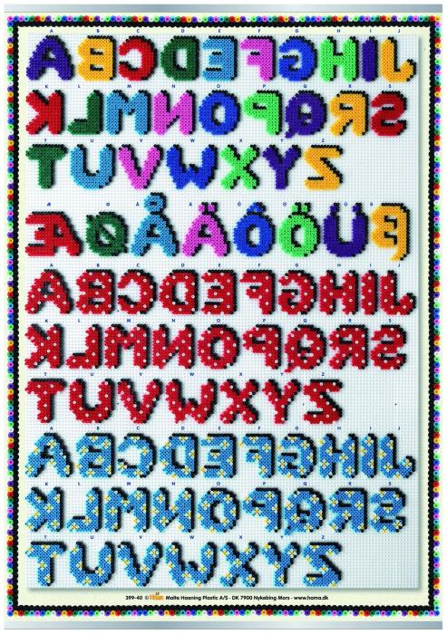 Afis ALFABETUL - litere din margele MIDI 1