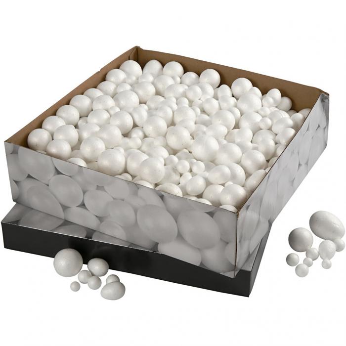 Bile și ouă din polistiren Creativ Company, între 1,5 și 6,1 cm, albe, set de 550 bucăți 1
