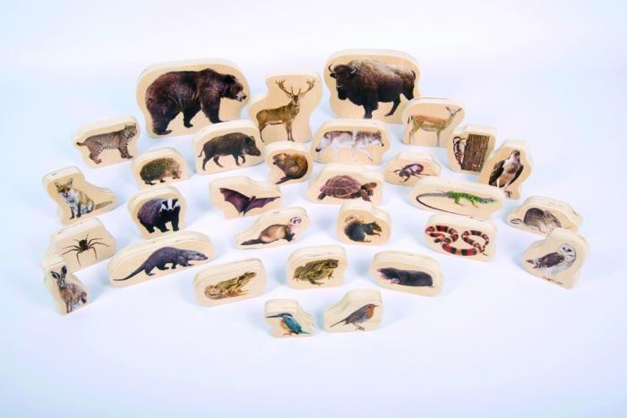 Blocuri de lemn cu animale sălbatice, TickiT, set de 30 1