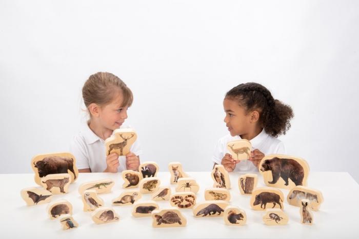 Blocuri de lemn cu animale sălbatice, TickiT, set de 30 4
