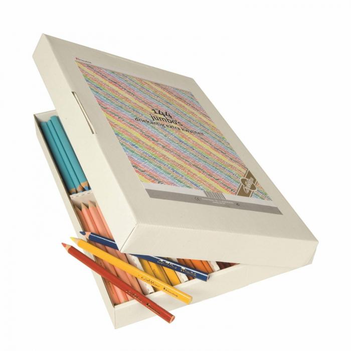 Creioane triunghiulare colorate groase 144 buc 0
