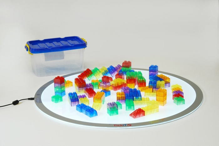 Cuburi de construcții transparente, set de 90 piese, multicolor 4