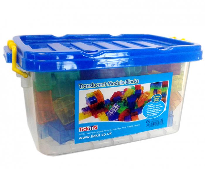 Cuburi de construcții transparente, set de 90 piese, multicolor 0