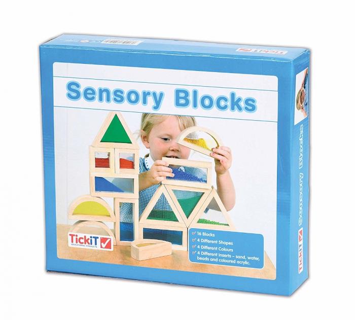 Cuburi de construcții senzoriale, TickiT, set de 16 cuburi, multicolor 2