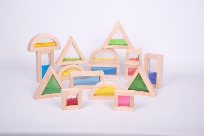 Cuburi de construcții senzoriale, TickiT, set de 16 cuburi, multicolor 3