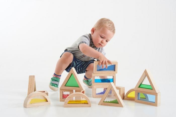 Cuburi de construcții senzoriale, TickiT, set de 16 cuburi, multicolor 1