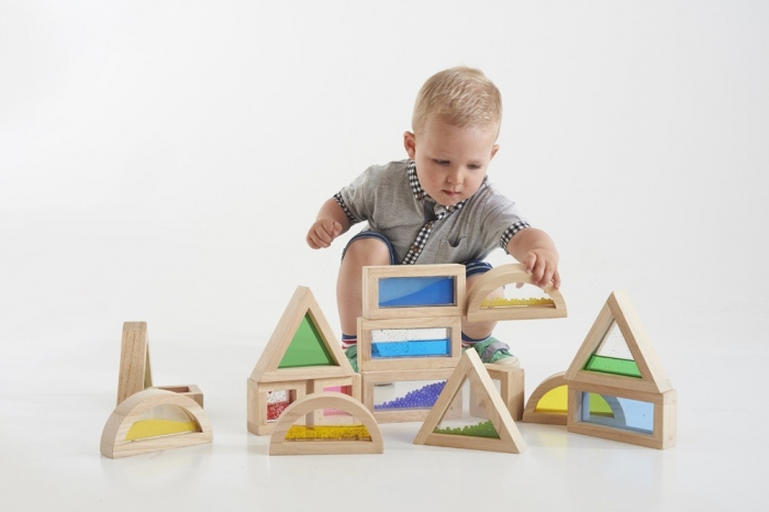Cuburi de construcții senzoriale, TickiT, set de 16 cuburi, multicolor 0