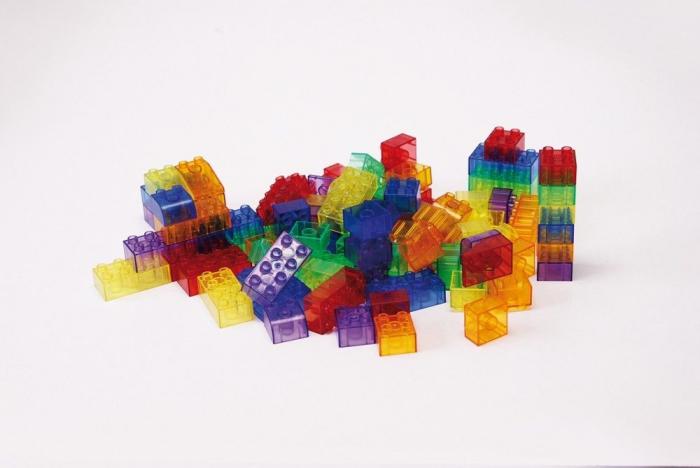 Cuburi de construcții transparente, set de 90 piese, multicolor 1