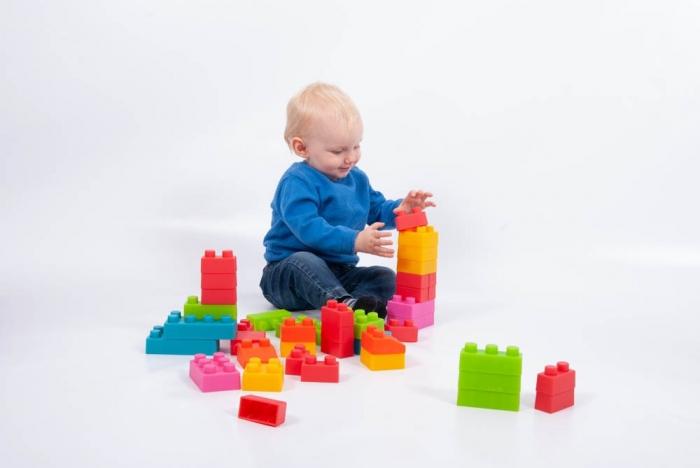 Cuburi de plastic moale, TickiT, set de 45 cuburi, multicolor 3