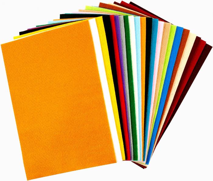 Fetru culori asortate, 20 x 30 cm, grosime 1,5 mm, set de 24 0