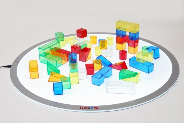 Set de 50 buc cuburi de construcții COLORATE transparente din plastic 3