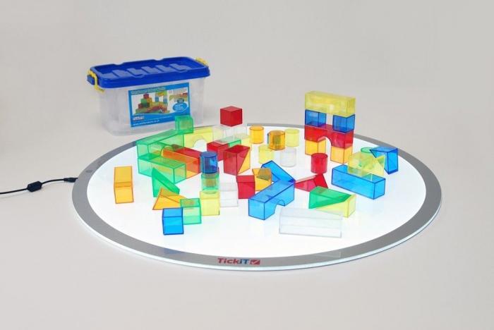 Set de 50 buc cuburi de construcții COLORATE transparente din plastic 2