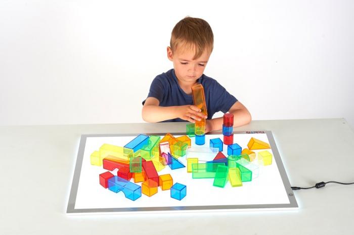 Set de 50 buc cuburi de construcții COLORATE transparente din plastic 1