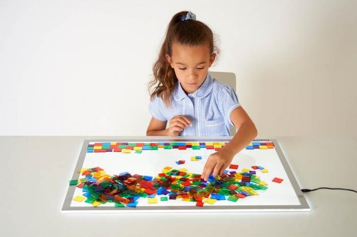 Joc sortare pătrate transparente, Edx Education, set de 300 bucăți 4