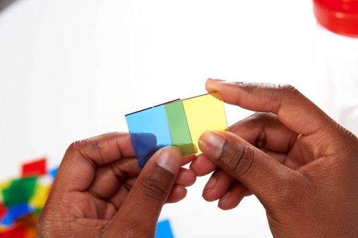 Joc sortare pătrate transparente, Edx Education, set de 300 bucăți 2