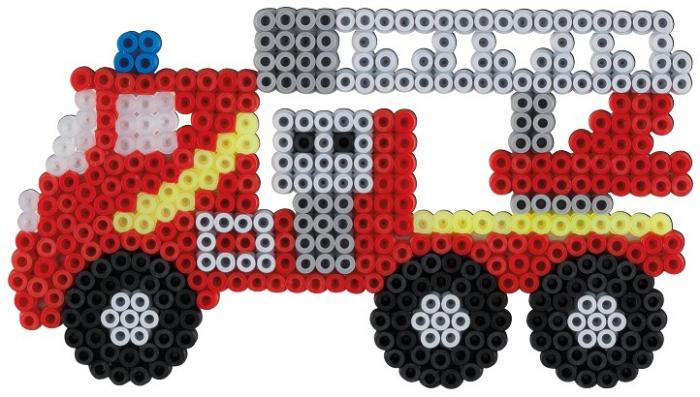 Set de 2000 buc mărgele de călcat Hama Midi cu 1 planșetă în cutie de cadou cu agățător Pompierii, dimensiuni cutie cu agățător 25,5 x 17 x 3 cm. 1