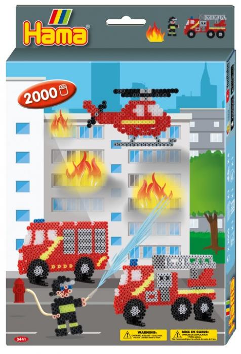 Set de 2000 buc mărgele de călcat Hama Midi cu 1 planșetă în cutie de cadou cu agățător Pompierii, dimensiuni cutie cu agățător 25,5 x 17 x 3 cm. 0