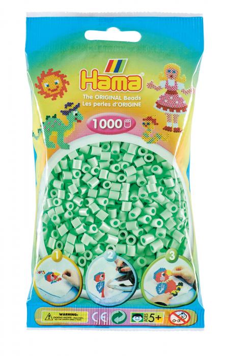 Mărgele de călcat HAMA MIDI Verde mentă Pastel 1000 buc în punguliță 0