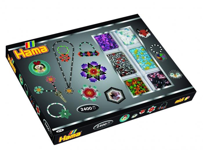 Mărgele cu dungi 2400 buc HAMA MIDI + 2 planșete în cutie 1