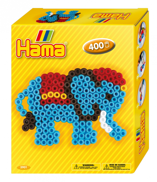 Set de 400 buc. mărgele de călcat HAMA Midi în cutie cadou cu o planșetă Elefant 0