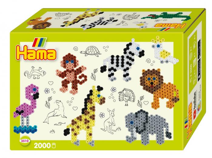 Margele de calcat HAMA MIDI Animale din Zoo - 2000 margele + 1 plansete de lucru impachetat in cutie 0