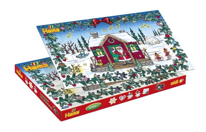 Margele de calcat HAMA MIDI Calendar Advent 5000 in cutie + 5 plansete de lucru mic 0