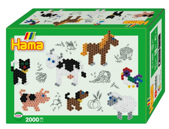 Margele de calcat HAMA MIDI Animale de fermă - 2000 margele + 1 plansete de lucru impachetat in cutie 0