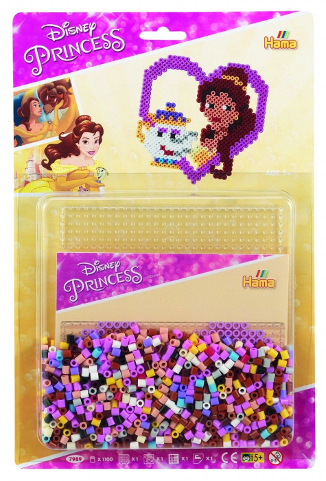 Set de 1100 mărgele Hama Midi și planșetă pătrat în bășică, Prințesele Disney 0