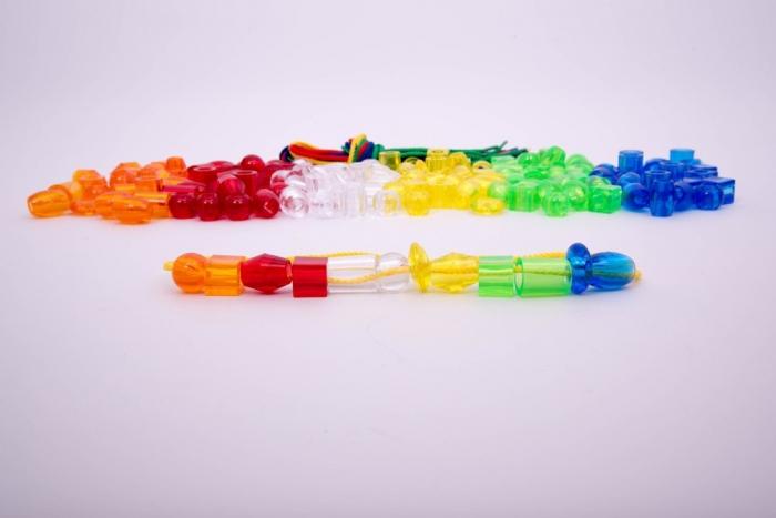 Mărgele transparente mari de înșirat, 192 bucăți, multicolor 9