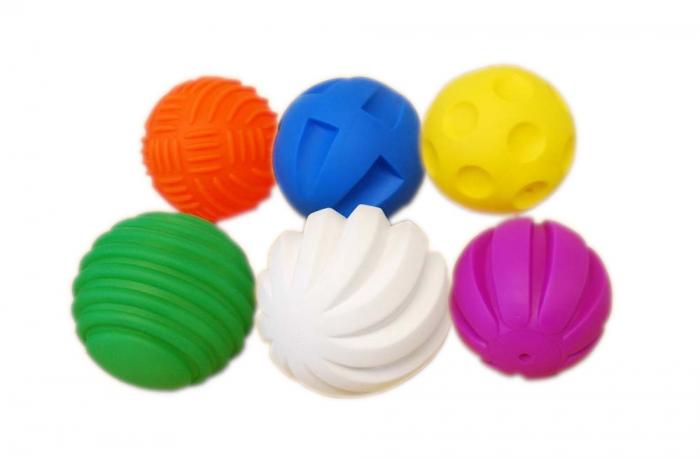 Mingi Tactile, TickiT, set de 6 mingi, multicolor 0