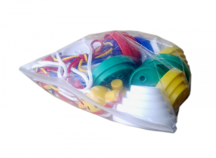 Nasturi de insirat plastic Gigant, Commotion, set de 44 bucati, multicolor 0