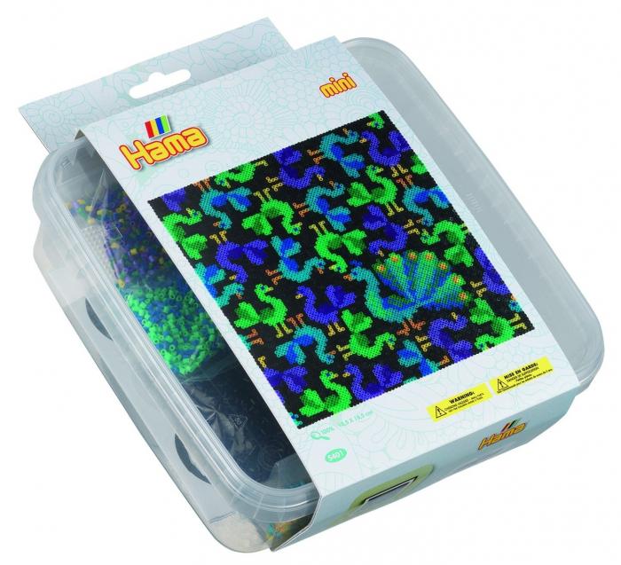 PASARI - 10500 margele HAMA MINI in cutie de plastic 0