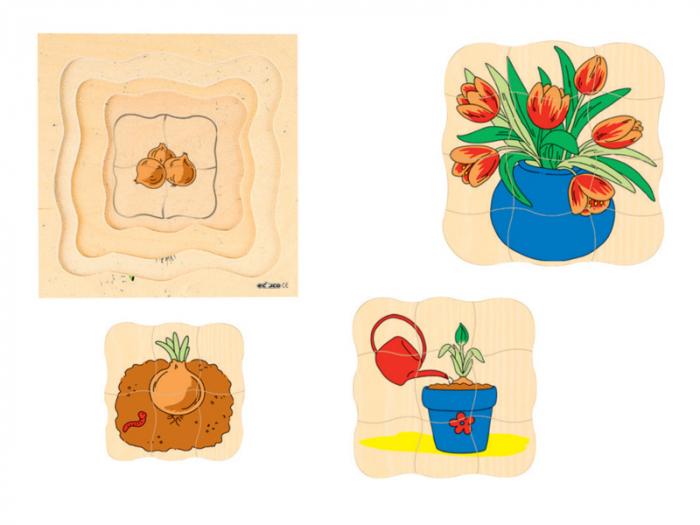 Puzzle de evoluție cu patru straturi FLOARE 24 x 24 cm, grosime 2 cm 1