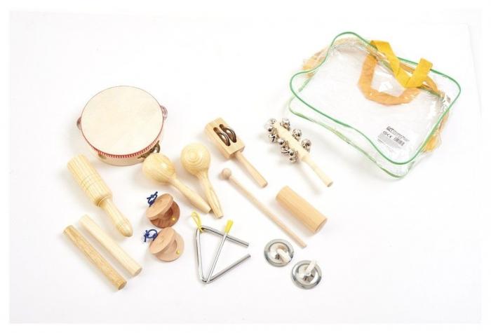 Set 10 de instrumente muzicale de joaca de percutie in sacosa transparenta 1