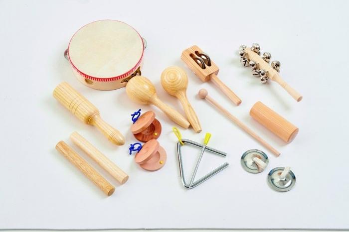 Set 10 de instrumente muzicale de joaca de percutie in sacosa transparenta 2