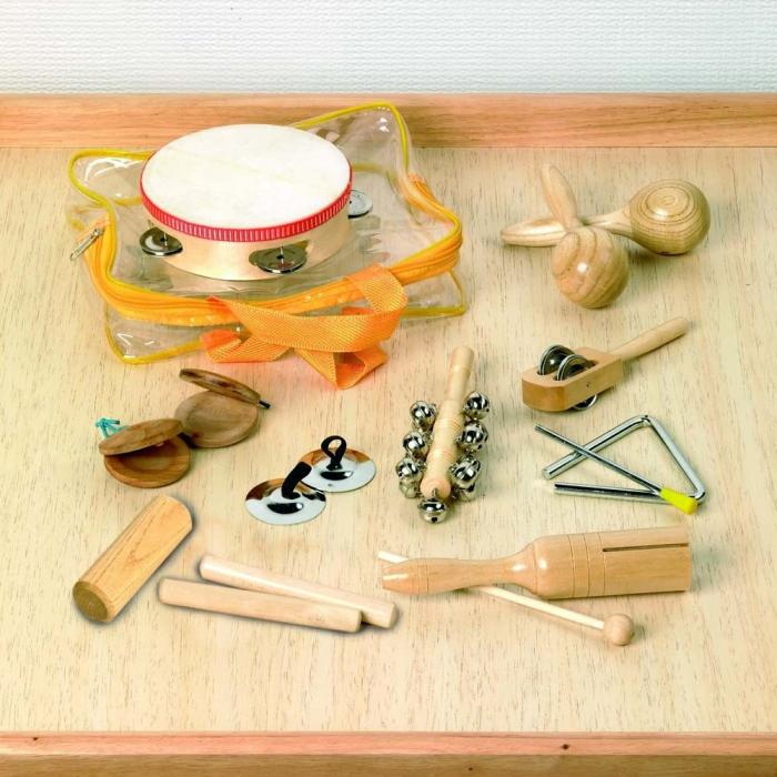 Set 10 de instrumente muzicale de joaca de percutie in sacosa transparenta 0