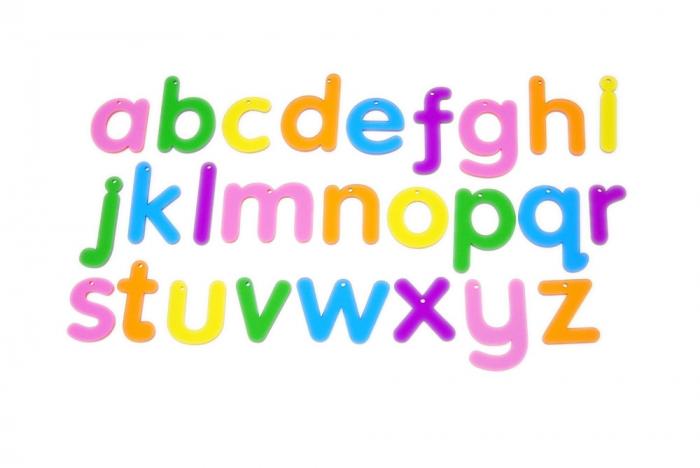 Set de 26 litere mici colorate transparente de înălțime 70 mm, TickiT 0