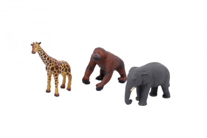 Set de 3 animale din Africa din cauciuc moale ecologic dimensiune medie 25cm: elefant, girafa, gorila 0