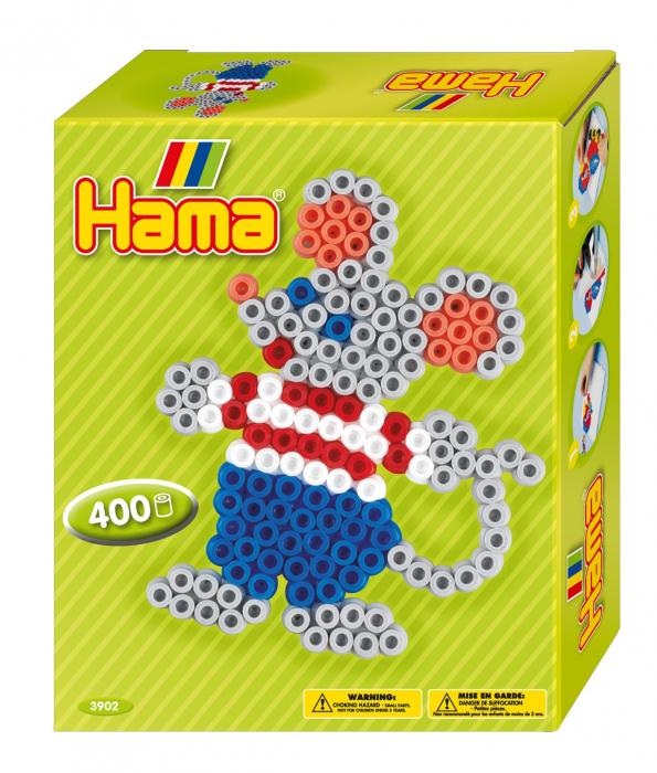 Set de 400 buc. mărgele de călcat HAMA Midi în cutie cadou cu o planșetă Șoricel 0