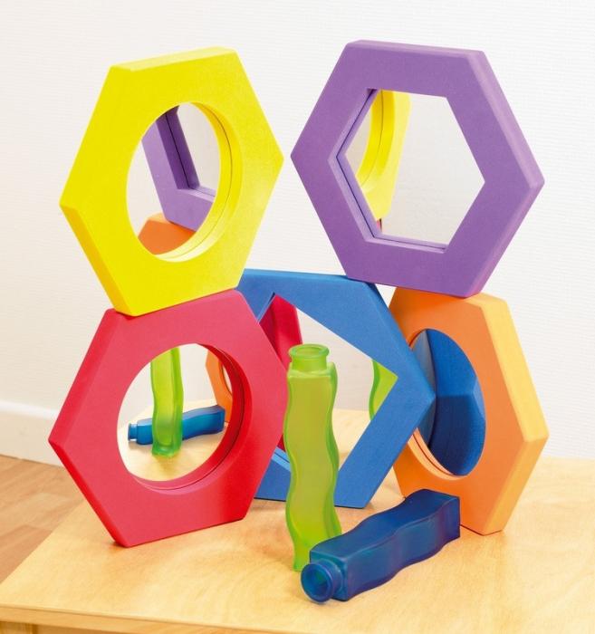 Set de 5 oglinzi hexagonale cu rama de spuma 0