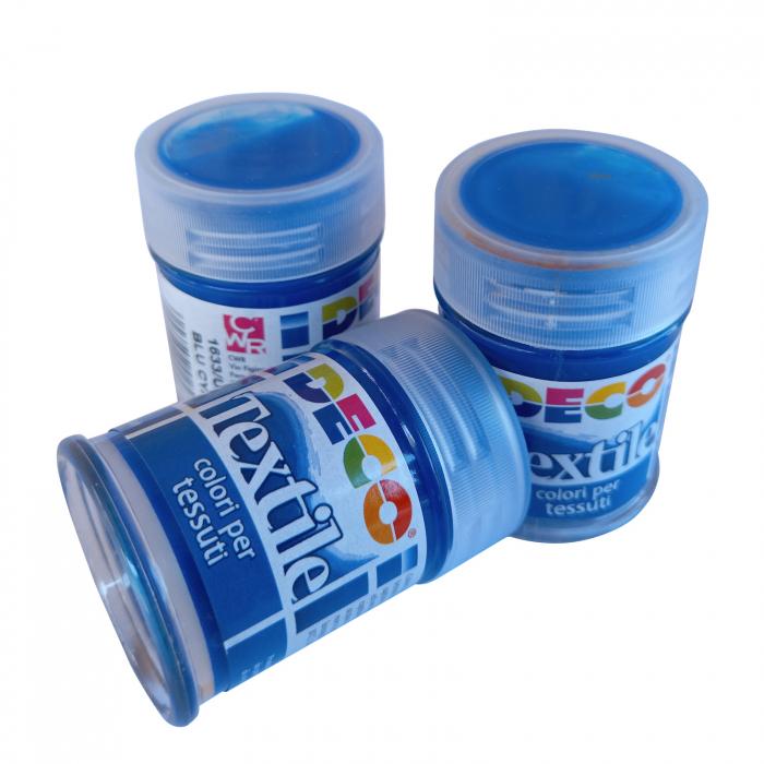 Vopsea albastru cyan pentru material textil în flacon de 35 ml [2]