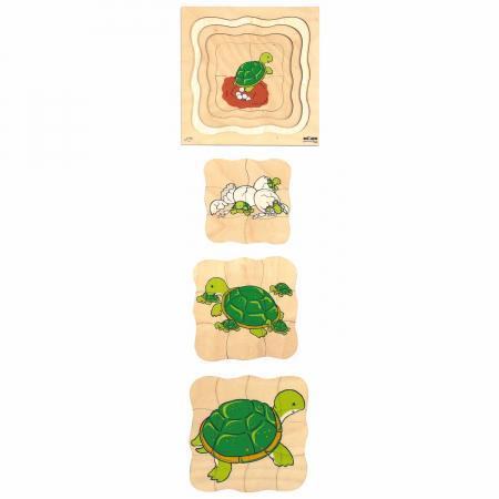 Puzzle de dezvoltare cu patru straturi BROASCA TESTOASA 24x24 cm, grosime 2cm1