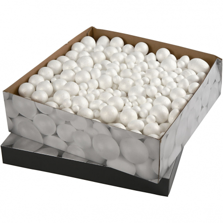 Bile și ouă din polistiren Creativ Company, între 1,5 și 6,1 cm, albe, set de 550 bucăți2