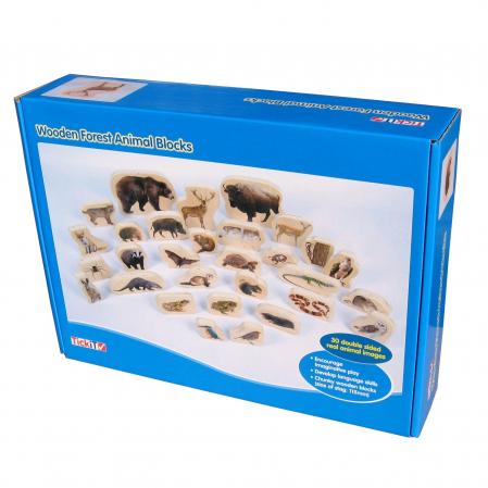Blocuri de lemn cu animale sălbatice, TickiT, set de 300